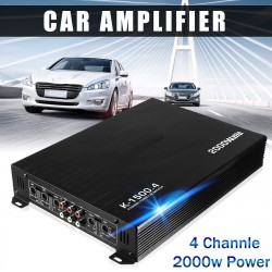 2000W 4 Channel Car Amplifier Speaker Vehicle Auto Audio Amplifier Power Stereo Amp Auto Audio Power Amplifier Player DC 12