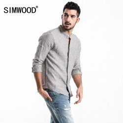 100% Linen Striped Shirts Men Slim Fit Mandarin Collar