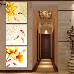 60x60cm 3 pcs UnFramed Canvas Feng Shui Modular Wall Pictures prints Art Koi Fish Lotus Gold