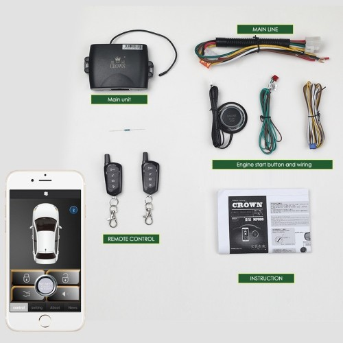 Engine push start button and lock system via Smartphone and Remote