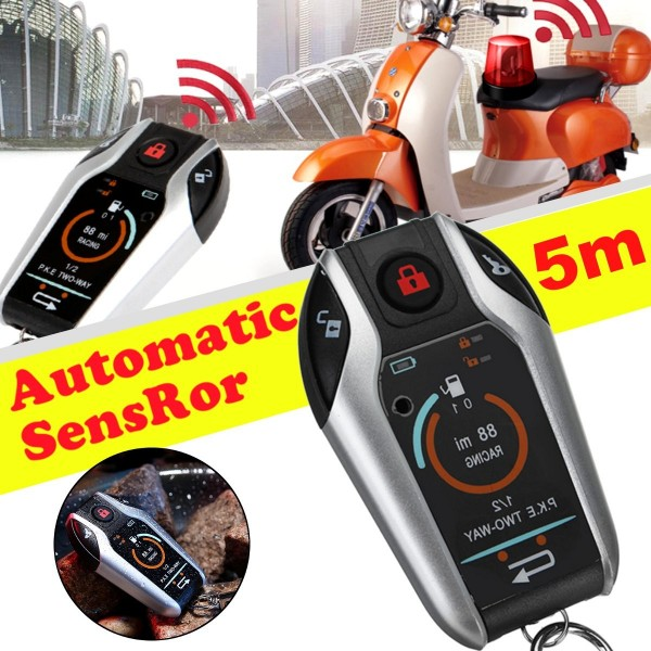 Motorcycle Engine Start  with PKE, remote start, alarm, Anti-theft 2way Sensor