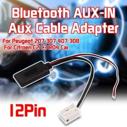 12Pin Bluetooth Module Wireless Radio Stereo AUX-IN Aux Cable Adapter For Peugeot 207 307 407 308