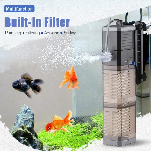 3 in 1 Multifunction Built-in Aquarium Filter Air Pump Submersible Fish Tank