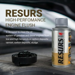 ENGINE FLUSH RESURS 100 ml. Completely dissolves the carbon deposits in the oil.