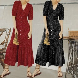 Half Sleeve V-neck Long Dress Ankle-length Dress Polka Dot Pattern