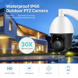 BESDER 1080P 30X ZOOM PTZ IP Camera Outdoor Onvif Waterproof Speed Dome Camera 2MP H.265 IR 60M P2P CCTV Security Camera