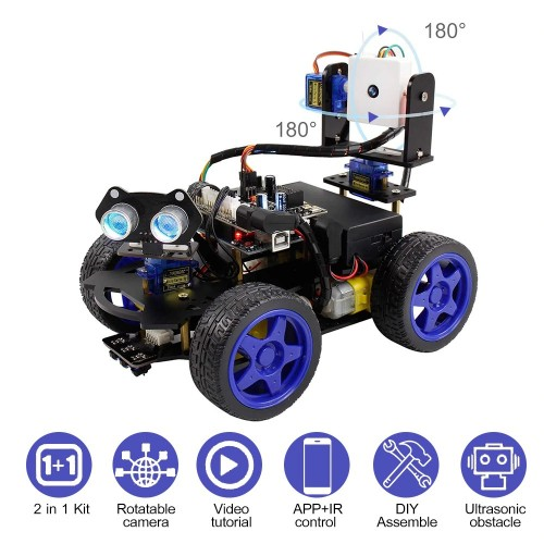 Smart Robot Car Kit Wifi Camera Remote Control STEM Education for Arduino Learner Support Scratch