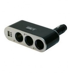 Car Cigarette Lighter 12V Socket Splitter from 1 to 3 sockets and 1 USB