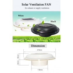 Solar Powered Ventilation Fan for Exhaust or Supply Ventilation