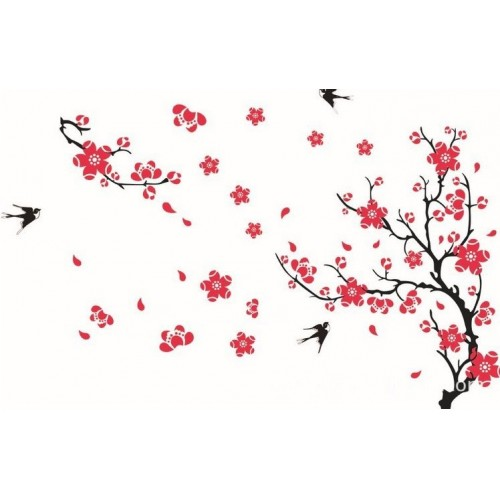 Swallow and plum flower home decor wall sticker