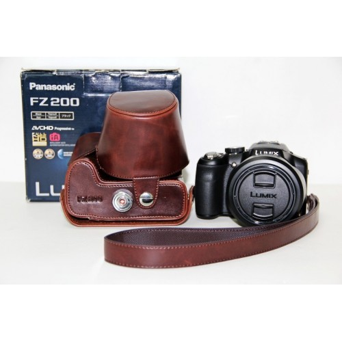 Leather Camera Bag Holster Case Cover for Panasonic FZ200