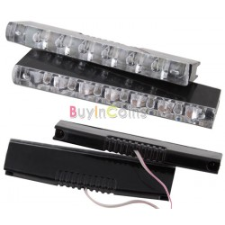 Universal CAR LED DRL  6 White Leds x 2 Pcs