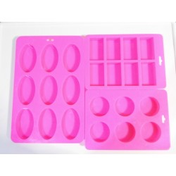 Silicone soap mold combination shape square rectangle oval