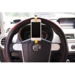 Car steering wheel mobile phone holder