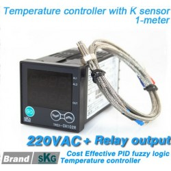 Big Dual Digital display window 48*48mm pid temperature controller 220VAC + thermocouple K 1-meter
