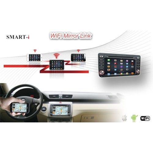 Wifi mirror link enables smartphone multi-media file display on car DVD player