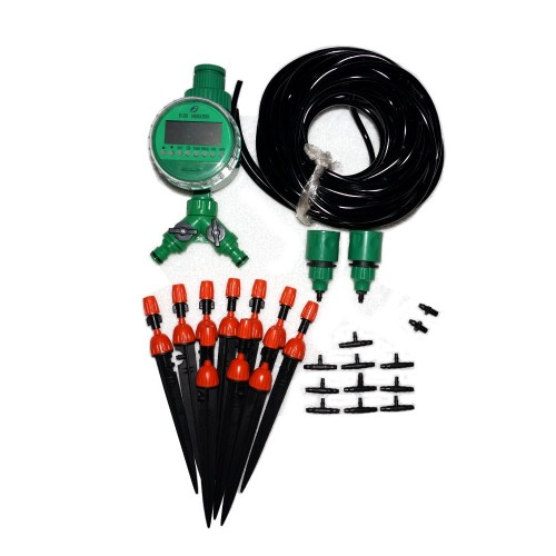 20m drip irrigation tubing nozzles timer controller System Kit.