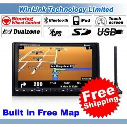 HD Touch Screen In Dash 2 Din Car DVD Player With GPS Stereo Audio Bluetooth Radio Ipod SD USB Free Map