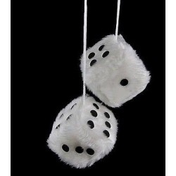 White Fuzzy Dice Hanging Car Rear View Mirror