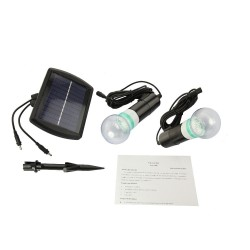 2 Bulbs Outdoor Solar Power Garden Light with charging system