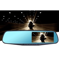 Rear view mirror DVR dual camera