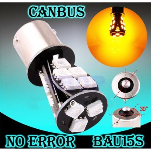 BAU15S 1156 18 SMD 5050 Yellow LED Turn Signal Light No CAN Bus Error Free