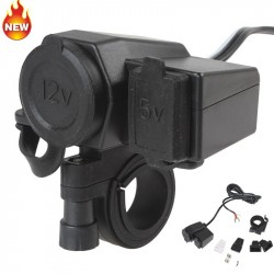12V and 5V USB Charger Ports  Waterproof for Motorcycle.