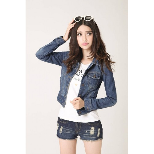 Vintage cropped short denim woman jacket long-sleeve