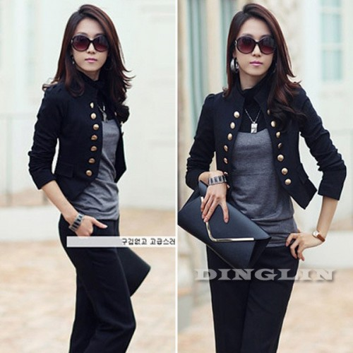 Double Breasted Ladies Long Sleeve Casual Cardigan Coat