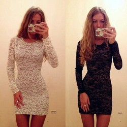 Lace Dress O-Neck Long Sleeve