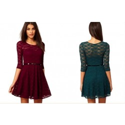 Casual Sexy Spoon Neck Quarter Sleeve Skater Lace Dress With Belt