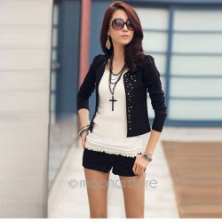 Rhinestone Rivet Puff Long Sleeve Women Jacket.