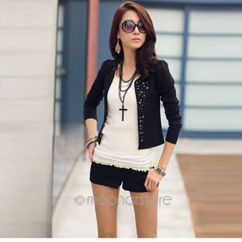 Rhinestone Rivet Puff Long Sleeve Women Jacket