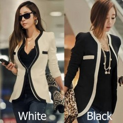 V-Neck Long Sleeve Slim Suit Jacket