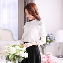 White lace long sleeve blouses 2016