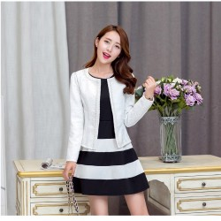 White Casual Long Sleeve Short Jacket