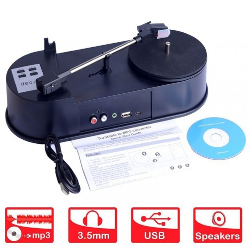 Mini Turnplate Vinyl LP to MP3 USB Flash-drive Converter