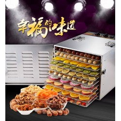 10 Tray Stainless Steel Food Jerky Fruit Vegetables Dehydrator
