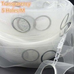 Curtain Polyester Transparent Eyelet Tape 5 Holes/M With Rings