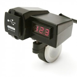Waterproof Motorcycle Dual USB Charger 3.1A with Volt Meter