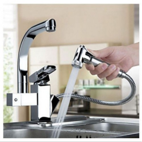 Two Spouts Chrome Kitchen Sink Faucet