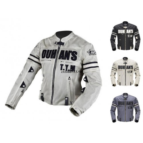 DUHAN Men's Breathable Mesh Motorcycle Jacket with Body Armor.
