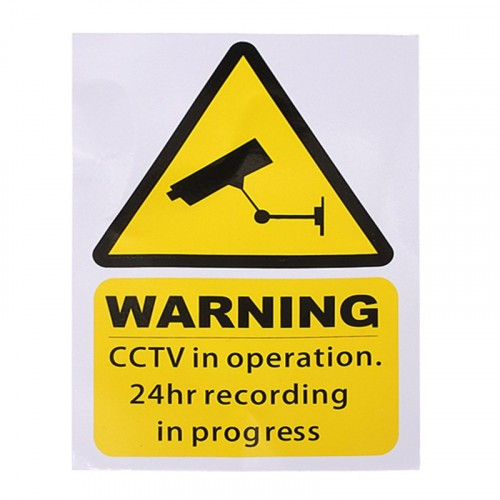 Waterproof Security Camera Sticker Warning 10x15cm