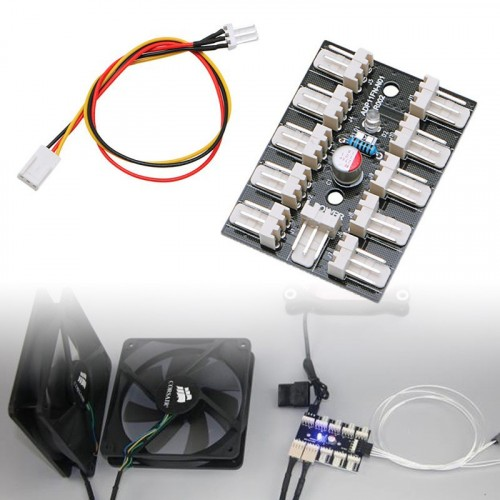 3 Pin PWM PC Fan Cooling 10 Way Hub Splitter Adapter