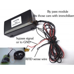 Bypass module with RFID sense chip key immobilizer signal avoidance