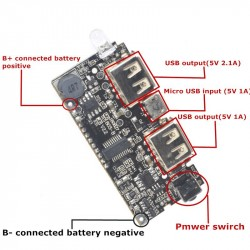 Dual USB 5V 1A 2.1A Mobile Power Bank 18650 Battery Charger PCB Power Module