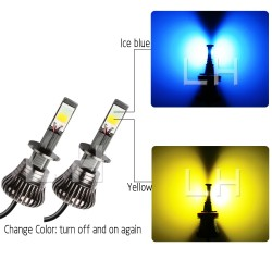 Dual Changeable Color Car Headlight Fog Light LED 80W.