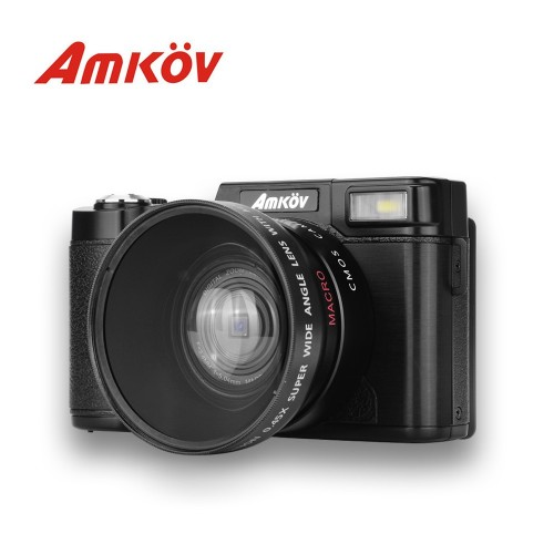 AMKOV CDR2 CD-R2 Digital Camera Video Camcorder with 3 inch TFT Screen with UV Filter 045X Super Wi