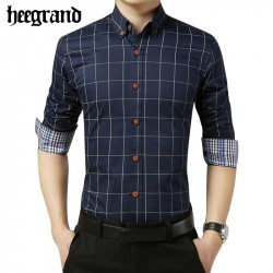 HEE GRAND 2017 Spring New Big Size Plaid Men Shirt High Quality Long Sleeve Turn-down Collar Casual
