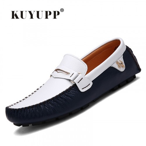 2016 Fashion KUYUPP Genuine Leather Men Loafers Shoes Casual Flat Heel Driving Flat Shoes Slip On Me